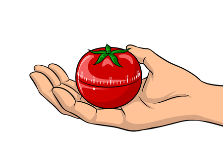 Tomato timer at hand pop art retro vector illustration. Isolated image on white background. Comic book style imitation. Stock Illustratie