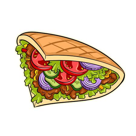 Doner kebab pop art retro vector illustration. Isolated image on white background. Comic book style imitation.