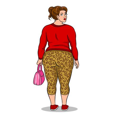 Fat girl in leopard leggings pop art vector Illustration