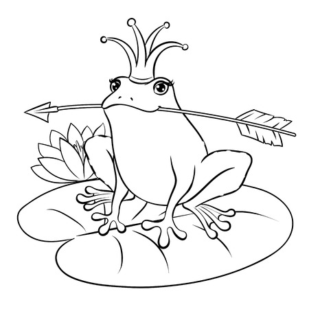 Frog with crown holding arrow in black and white Illustration.