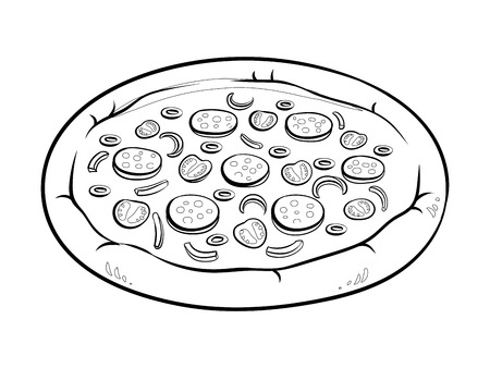 Round pizza coloring vector illustration. Isolated image on white background.
