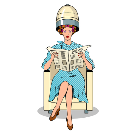 Woman with old hair dryer reads newspaper pop art on white backdrop illustration.