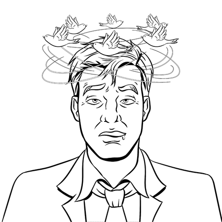 Birds fly over the head of a drunk man coloring vector illustration. Isolated image on white background.  Comic book style imitation. 矢量图像