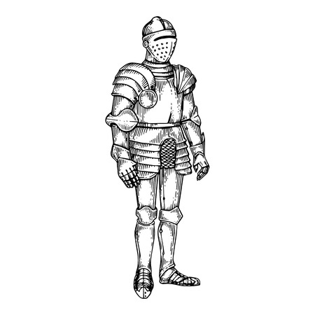 Knight armor engraving vector illustration. Scratch board style imitation. Black and white hand drawn image.