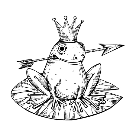 Princess Frog fairy-tale animal engraving vector illustration. Scratch board style imitation. Black and white hand drawn image. Ilustração