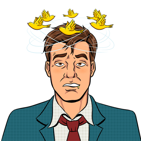 Las aves vuelan sobre la cabeza de un hombre borracho pop art retro ilustración vectorial. Imagen aislada sobre fondo blanco. Imitación de estilo cómic. Ilustración de vector