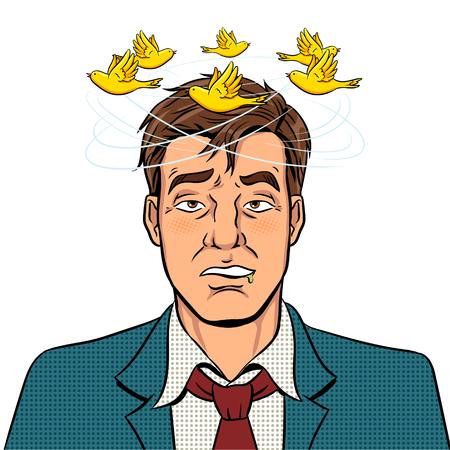 Ptaki latają nad głową pijanego człowieka ilustracji wektorowych retro pop-artu. Na białym tle obraz na białym tle. Imitacja stylu komiksowego. Ilustracje wektorowe