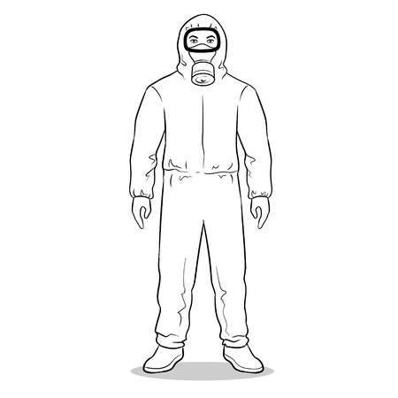 Man in yellow hazard protective suit coloring vector illustration. Isolated image on white background. Comic book style imitation.