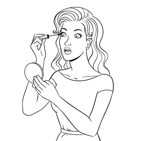 Girl paint eyelash doing makeup coloring vector illustration. Isolated image on white background. Comic book style imitation. Ilustração