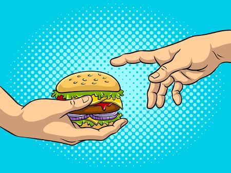 ハンバーガーポップアートベクターイラスト付き手