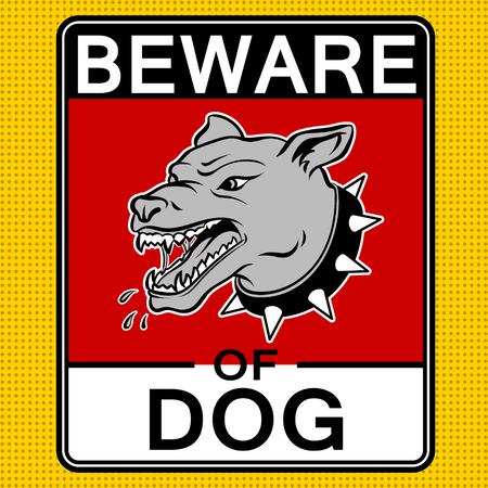 Beware of angry dog pop art vector illustration