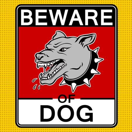 Beware of angry dog pop art vector illustration