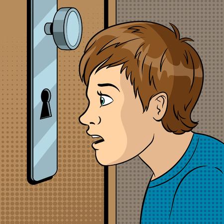 Boy peeks into the keyhole pop art vector