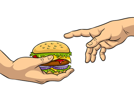 Hands with burger pop art vector illustration