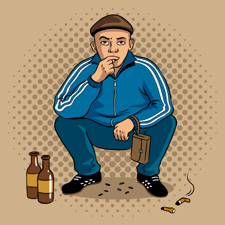 Gopnik hooligan man pop art vector illustration