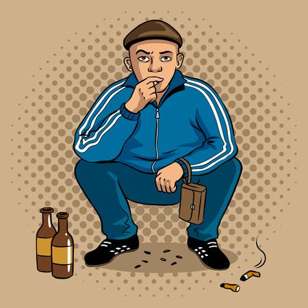 Gopnik hooligan man pop art vector illustration