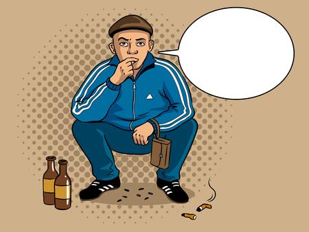 Gopnik russian hooligan man pop art retro vector illustration. Colorful background. Text bubble. Comic book style imitation.