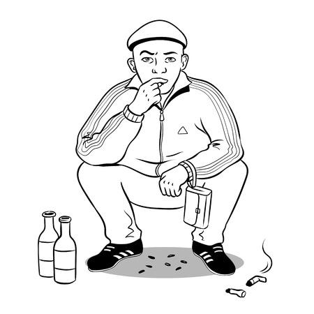 Gopnik hooligan man coloring book vector illustration.