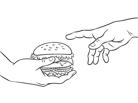 Hands with burger coloring book vector