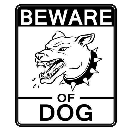 Beware of angry dog coloring book vector Ilustração