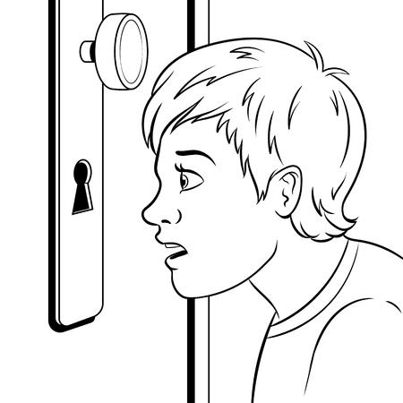 Boy peeks into the keyhole coloring book vector