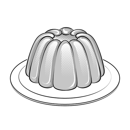 Jelly dessert coloring book vector illustration. Illustration
