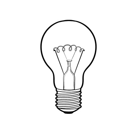 Lamp shine coloring book vector illustration.