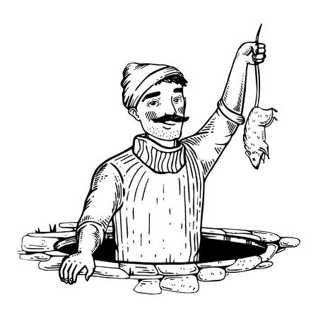 Rat catcher engraving vector illustration.
