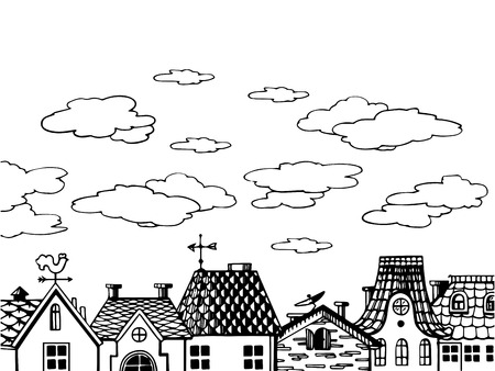 Old houses roof engraving vector illustration.