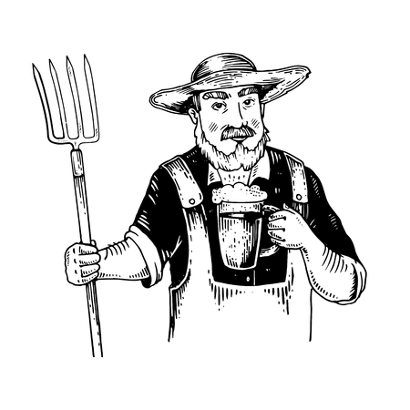 Rural man with pitchfork and beer engraving vector illustration. Stock Illustratie