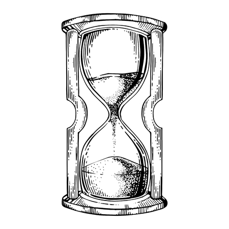 Sand watch glass engraving vector illustration