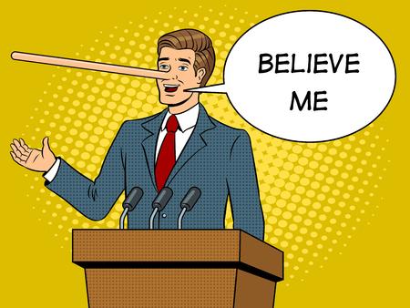 Político con nariz larga mentiras hombre pop art retro ilustración vectorial. Burbuja de texto Imitación de estilo cómic.