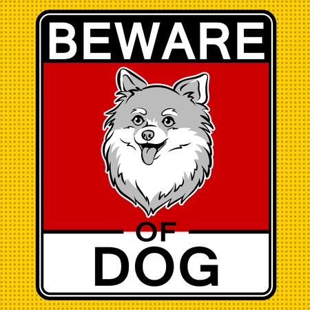 Beware of cute dog plate pop art retro vector illustration. Color background. Comic book style imitation.