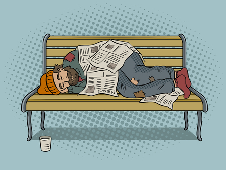 Homeless man sleeps on bench with newspapers pop art retro vector illustration. Color background. Comic book style imitation.