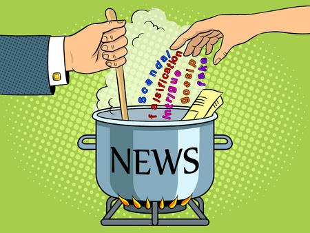 ニュース制作比喩ポップアートレトロベクターイラスト。色の背景。色の背景。漫画本風の模倣。