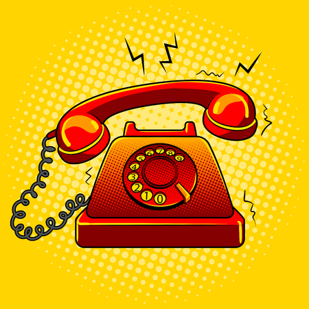 Red hot old phone pop art vector illustration