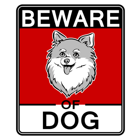 Beware of cute dog pop art vector illustration
