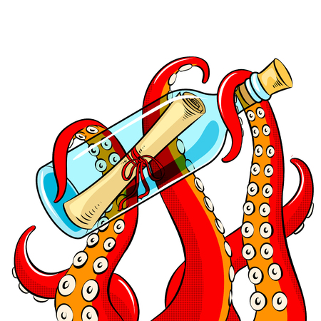 Octopus and message in bottle pop art vector