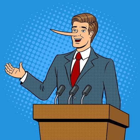 긴 코를 가진 정치인 거짓말 팝 아트 벡터 스톡 콘텐츠 - 99661729