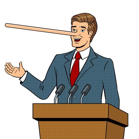 Político con nariz larga mentiras hombre pop art retro ilustración vectorial. Imagen aislada sobre fondo blanco. Imitación de estilo cómic.