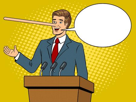 Politico con naso lungo bugie uomo pop art retrò illustrazione vettoriale. Bolla di testo. Imitazione stile fumetti.