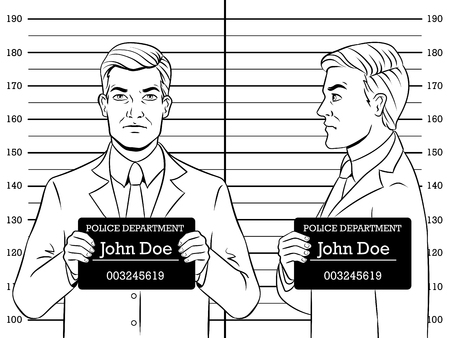 Arrested man photo in police station coloring retro vector illustration. Comic book style imitation.