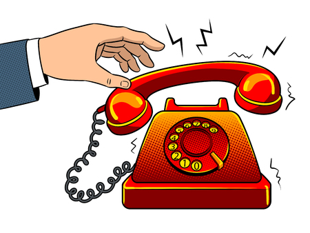 Hand with red hot old fashioned phone metaphor pop art retro vector illustration. Isolated image on white background. Color background. Comic book style imitation. Vettoriali