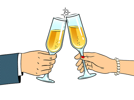 Clinking glasses with champagne pop art retro vector illustration. Isolated image on white background. Comic book style imitation.