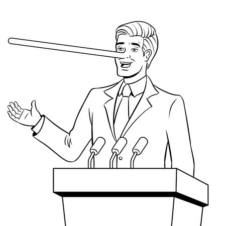 Político con nariz larga se encuentra vector de libro para colorear
