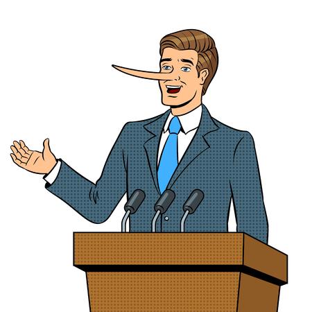長い鼻を持つ政治家は、男のポップアートレトロなベクトルイラストがあります。白い背景に分離された画像。漫画本風の模倣。