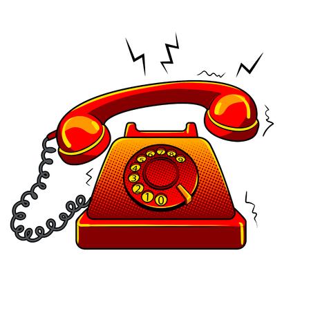 Retro- Vektorillustration der glühenden altmodischen Telefonmetapher-Pop-Art. Getrenntes Bild auf weißem Hintergrund. Comic-Nachahmung.