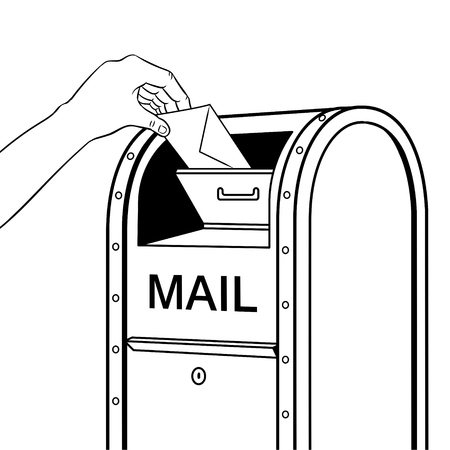 Hand drops letter into mailbox coloring retro vector illustration. Isolated image on white background. Comic book style imitation.