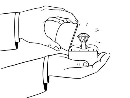Hands precious ring coloring vector illustration
