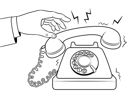 Old fashioned phone metaphor coloring retro vector illustration. Isolated image on white background. Comic book style imitation. Vectores